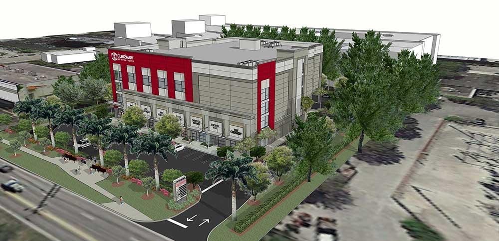 Ground-Up Mixed Development. 118,000 SF, 5 Story Retail & Self-Storage Facility, McNab Grove CubeSmart Store, Pompano Beach, FL