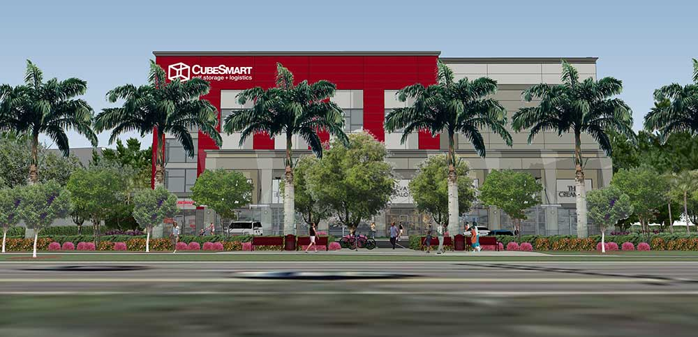 Ground-Up Mixed Development. 118,000 SF, 5 Story Retail & Self-Storage Facility, McNab Grove CubeSmart Store, Pompano Beach, FL